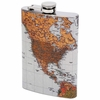 Maxam 8oz Stainless Steel Flask with Antique World Map