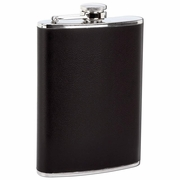 Maxam  Flask with Faux Leather Black Wrap  Stainless Steel   8oz.