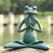 Meditating Yoga Frog Garden Sculpture
