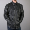 Men's Leather Snap Front Shirt Black