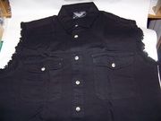 Men's Sleeveless Black Denim Shirt  SIZE: MEDIUM ONLY
