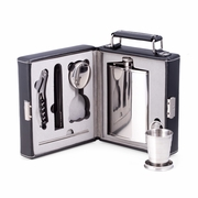 Mini Bar To Go 7pc Set Includes Black Leather Case