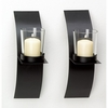 Modernistic Metal Mod-Art Candle Sconce Pair