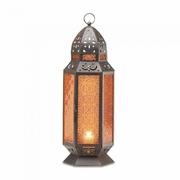"Moroccan Design Amber Glass Candle Lantern  19""h  FREE SHIPPING"