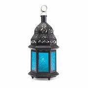 "Moroccan Style Lantern Blue Glass Tea Light or Votive 8-1/4""h"