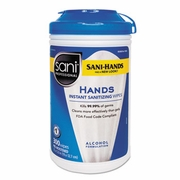 Sani Hands Instant Sanitizing Wipes with Tencel  7 1/2 x 5, 300/Canister, 6/Ct