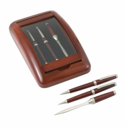 Pen Pencil and Letter Opener in a Wood & Glass Case
