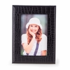 Picture Frame Croco-Grained Black Leather 4 X 6