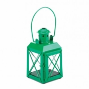 Railroad Style Candle Lantern  Green