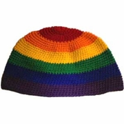 Rainbow Crocheted Skull Cap