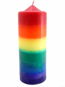 "Rainbow Dipped Candle 3"" x 8"" Pillar"