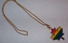 Rainbow Enameled Maple Leaf Pendant with Gold-Tone Chain