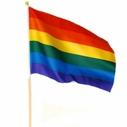 "Rainbow Gay Pride Stick Flag  12"" x 18""   (100pc)"