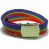 Rainbow Gay Pride Web Belt with Polished Buckle  3XL  60""
