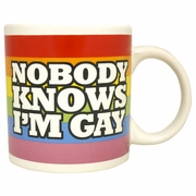 "Rainbow Jumbo Mug ""Nobody Knows I'm Gay""  22oz"