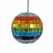 "Rainbow Mirror Disco Ball Ornament   2""dia."