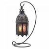"Rainbow Moroccan Candle Lantern with Stand 13""h"