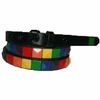 "Rainbow Studded  Narrow Leather Belt  3/4""w"