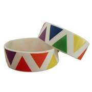 Rainbow Triangles on Silicone Bracelet  (pair)