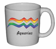 Rainbow Mug   Aquarius Astrological Symbol