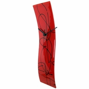 Red Glass Clock with Black Line Design