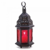 "Red Glass Moroccan Candle Lantern 10-1/4""h"