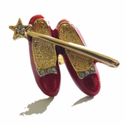 Red Ruby Slippers and Wand Brooch