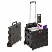 UniversalCollapsible Mobile Storage Crate, 18 1/4 x 15 x 18 1/4 to 39 3/8, Black