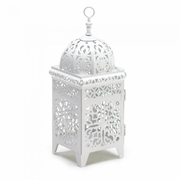 "Scrollwork Candle Lantern White 10.75""h"