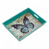 Serving Tray Blue Butterfly  Wood Tray