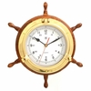 "Ship's Wheel Clock in Brass Porthole  13-1/2""dia"