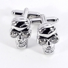 Skull Design Rhodium Plated Cufflinks with Crystal Inserts
