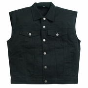 Sleeveless Vest Black Denim  (sizes L-6X)