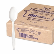 Solo Guildware  Heavyweight Polystyrene Full-Size Teaspoons, White  (100/pc)