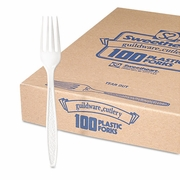 Solo Guildware  Heavyweight Polystyrene Full-Size White Forks (100pc)