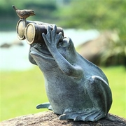 Spectator Frog with Friend Aluminum Garden Sculpture   FREE SHIPPING