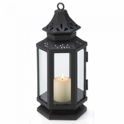 "Stagecoach Candle Lantern  Black Metal  8""h"