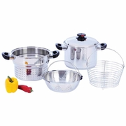 Steam Control 8qt T304 Stainless Steel Stockpot Spaghetti Cooker with Deep Fry Basket & Steamer Inserts