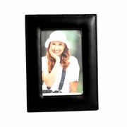 "Stitched  Black Leather Leather Frame 4"" x 6"""