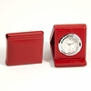 Stitched  Red Leather Alarm Clock