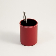 Stitched Red Leather Pencil Cup