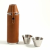 Tan Leather Flask 10oz   with  2 Shot Cups