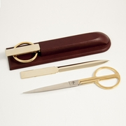 Tan Leather Letter Opener, Scissors Library Set