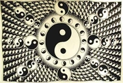 "Tapestry  White and Black Yin Yang 72"" x 108"""
