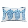 "Tasseled Blue Paisley Throw Pillow  18.5"" x 11"""