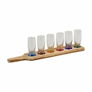 Tavern Tasting Set with Wood Paddle Holder 7pc.