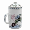 Tea Mug with Lid and Diffuser Butterfly Pattern