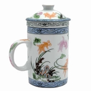 Tea Cup with Lid and Diffuser  Fish Pattern