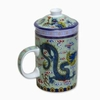 Tea Mug with Lid and Diffuser Green Dragon Design