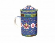Tea Mug with Lid and Diffuser  Traditional Blue